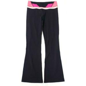 Lululemon Womens Bootcut Yoga Pants Black Pink 6